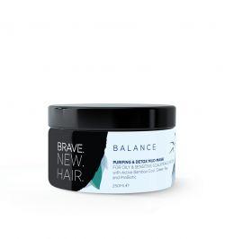 Очищающая черная маска для чувствительной и жирной кожи головы, волос, лица и тела BALANCE BRAVE NEW HAIRBiopharma 250 мл