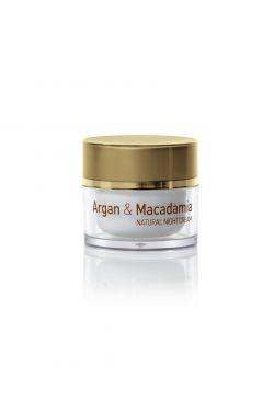 Натуральний нічний крем для обличчя з аргановою олією та олією горіха макадамія
